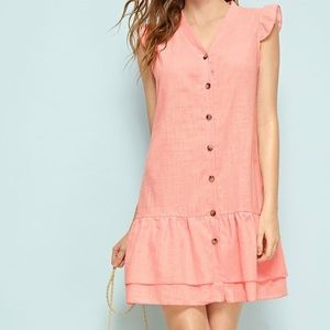 Hello Molly Blush Button Front Tiered Linen Dress